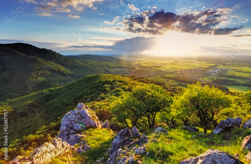 Green Rocky moutain at sunset - Slovakia