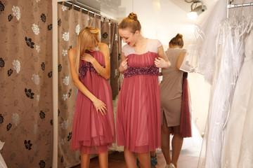 Bridesmaides Having fun in bridal Boutique