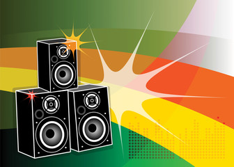 Background with the speakers inside, vector illustration
