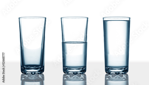 empty,half and full water glasses