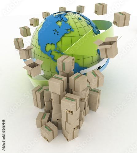3d cardboard boxes around globe on white background