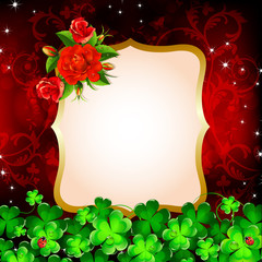 Background with red roses and clover