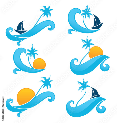 sea and sun, holiday on water, vector collection of travel label