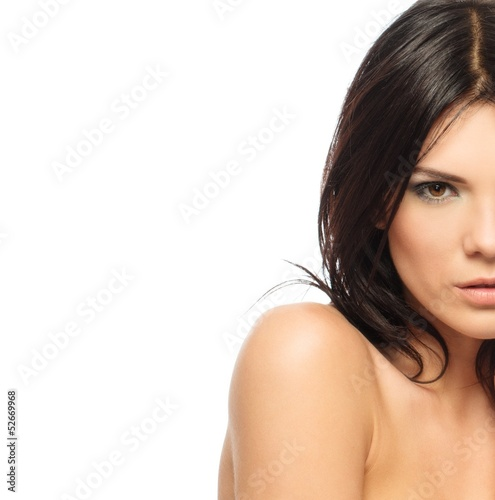Young beautiful brunette woman with make-up
