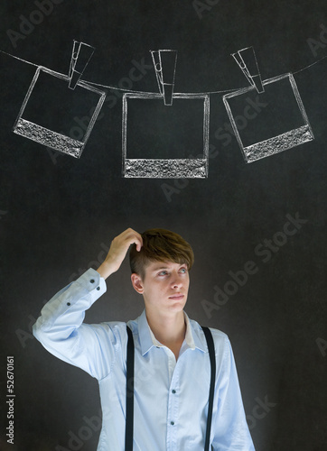 Businessman, teacher or student with chalk instant photos