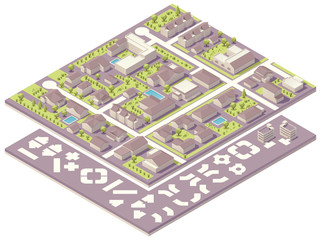 Isometric small town map creation kit