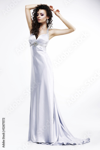 Lady in Light Silk Sleeveless Dress. Platinum Jewelry. Beauty