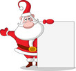 Christmas Santa Claus with blank sign