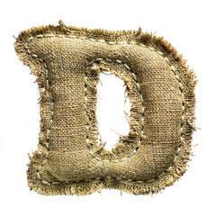 Linen vintage cloth letter isolated on white