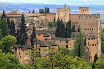 Panorama view of Alhambra palace as seen from Generalife