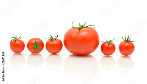 ripe tomatoes on a white background with reflection