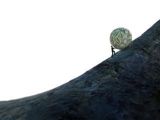 Tiny man pushing a ball of money up hill