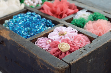 Set of woman's accessories in old wooden box