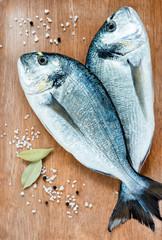 Fresh dorada fish with sea salt and bay leaf