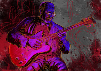 guitar player (full sized hand drawing - original)