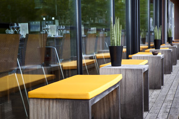 Terrasse, restaurant, patio, mobilier, décoration, bois