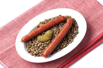 Lentils and sausages