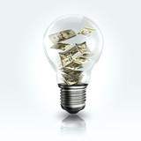 A light bulb with a Dollar banknot inside