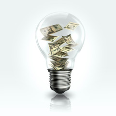 A light bulb with a Dollar banknot inside