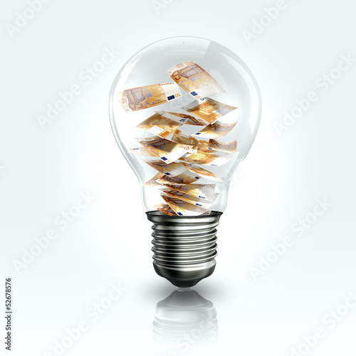 A light bulb with a Euro banknot inside
