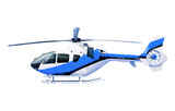 blue helicopter isolated white