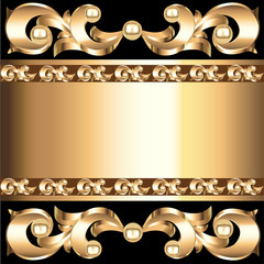 background frame with vegetable voluminous gold(en) ornament