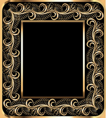 background frame with vegetable gold(en) ornament