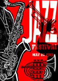 Fototapety Jazz poster with saxophonist