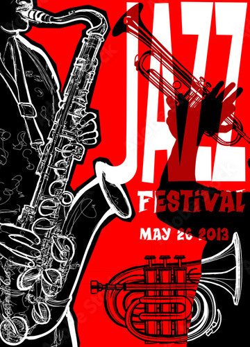 Jazz poster with saxophonist © Isaxar