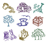 Set of icons. Author's illustration in vector