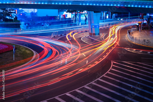 urban street with light trails