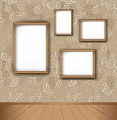 Vector interior. Frames on the wall