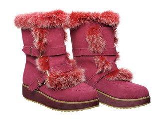 Women's winter boots, isolated