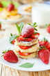 curd pancake with strawberries and milk