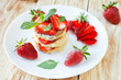 Stack curd pancake with Strawberries
