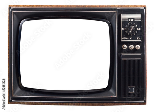 canvas print picture The old TV on the isolated white background