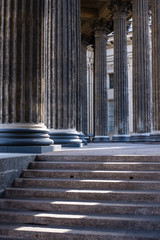 Close-up of columns with stairs