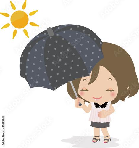 太陽の下で日傘をさす女性