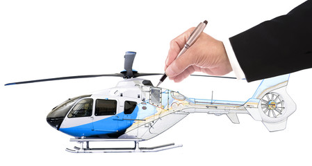 hand of business man writing on helicopter