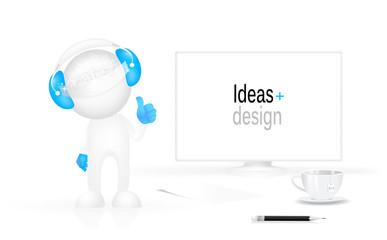 Arbeitsplatz-Designer und Roboter
