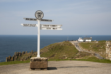 Famous signpost at Land's End in Cornwall UK