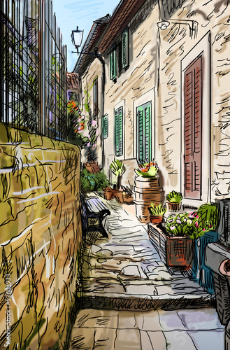 starzy-budynki-w-typowym-sredniowiecznym-wloskim-miescie-ilustracja
