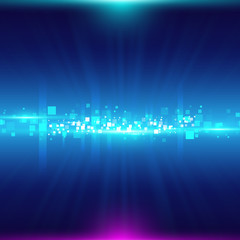 Blue abstract background with  particles