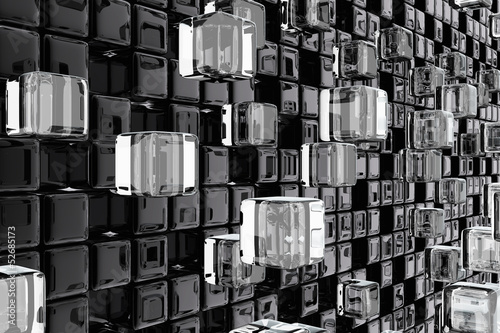 Wall of technological cubes