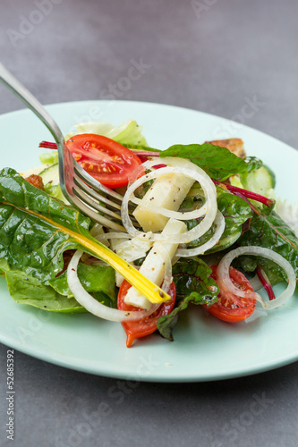 Mixed salad leaves with vegetables and pecorino cheese