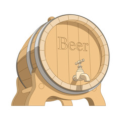 wooden tun with beer vector illustration isolated on white