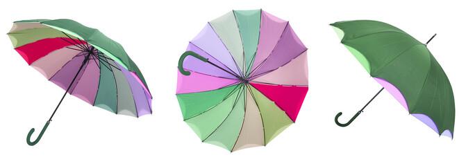 parapluie multicolore en triptyque