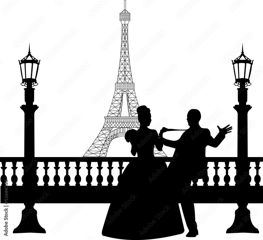 wedding couple in front of eiffel tower in paris silhouette wall sticker wall stickers. Black Bedroom Furniture Sets. Home Design Ideas