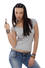 Provocative girl showing middle finger gesture
