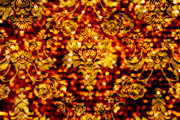 Floral Ornament Bokeh Background Red Gold